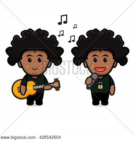 Cute Curly Boy Playing Guitar And Singing Cartoon Icon Vector Illustration. Design Isolated On White