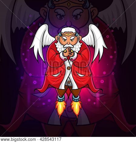 The Guardian Santa Clause And Angel Mascot Of Illustration