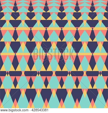 Geometric Ethnic Oriental Ikat Or Tribal Seamless Pattern. Fabric Pattern Design For Tribal Embroide