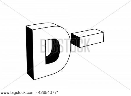 Uppercase Letter D With Minus Sign, School Grading Evaluation System, Standing Or Vertical Position