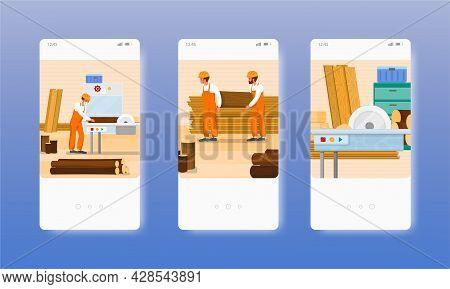 Woodworking. Joinery. Carpentry Wood Furniture Workshop. Mobile App Screens, Vector Website Banner,