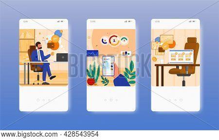 Collector Buying Nft Crypto Art. Non-fungible Token. Mobile App Screens, Vector Website Banner, Web