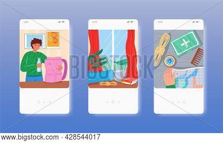 Hiker Packing Tourist Backpack With Camping Hiking Gear. Mobile App Screens, Vector Website Banner,