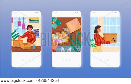 Woman Packing Parcel. Online Delivery Service. Mobile App Screens, Vector Website Banner Template. U