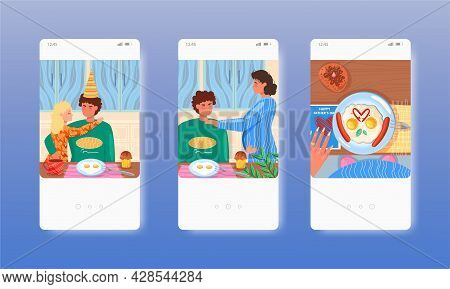 Happy Fathers Day. Dad With Daughter, Pregnant Wife. Mobile App Screens, Vector Website Banner Templ