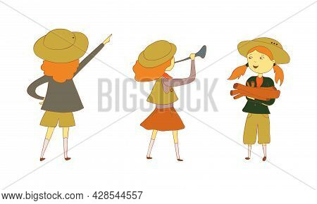 Cute Girl As Junior Scout Holding Lumber And Trumpet Vector Set