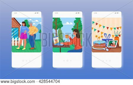 Happy Fathers Day. Senior Dad With Adult Daughter. Mobile App Screens, Vector Website Banner Templat