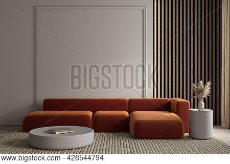 Modern Minimalism Interior With Orange Sofa, Moldings And Decor. 3d Render Illustration Mockup.