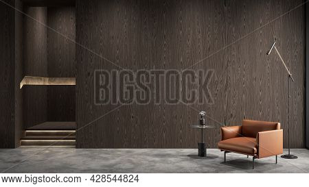 Modern Wooden Interior With Orange Armchair, Wall Panel And Decor. 3d Render Illustration Mock Up.