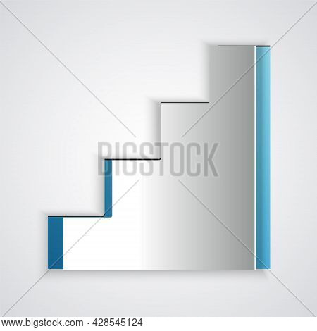 Paper Cut Staircase Icon Isolated On Grey Background. Paper Art Style. Vector