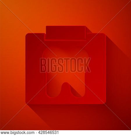 Paper Cut X-ray Of Tooth Icon Isolated On Red Background. Dental X-ray. Radiology Image. Paper Art S