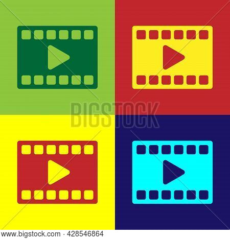 Pop Art Play Video Icon Isolated On Color Background. Film Strip With Play Sign. Vector