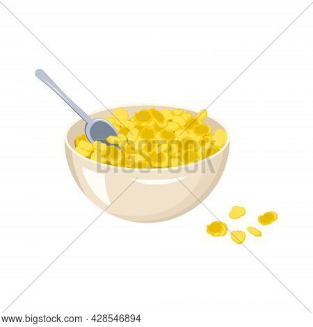 A Bowl Of Cornflakes And A Spoon. Fast Food Breakfast Or Snack. Delicious Sweet Corn Product.