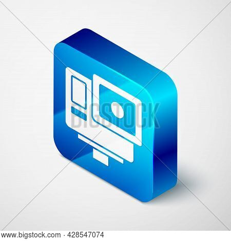 Isometric Action Extreme Camera Icon Isolated On Grey Background. Video Camera Equipment For Filming
