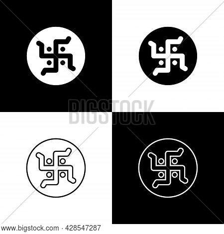 Set Hindu Swastika Religious Symbol Icon Isolated On Black And White Background. Vector