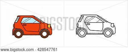 Micro Car Coloring Page. Micro Car Side View