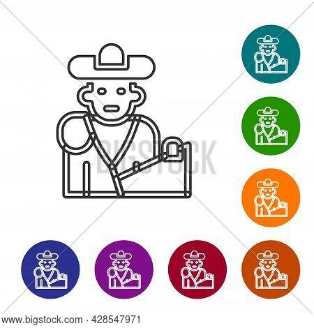 Black Line Spain Bullfight, Matador Icon Isolated On White Background. Traditional Spanish Entertain