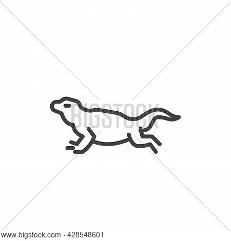Gecko Lizard Line Icon. Linear Style Sign For Mobile Concept And Web Design. Gecko Reptilia Outline