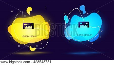 Black Music Synthesizer Icon Isolated On Black Background. Electronic Piano. Abstract Banner With Li