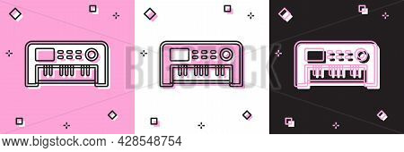 Set Music Synthesizer Icon Isolated On Pink And White, Black Background. Electronic Piano. Vector