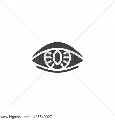 Human Eye Lens Vector Icon. Filled Flat Sign For Mobile Concept And Web Design. Contact Lens Glyph I