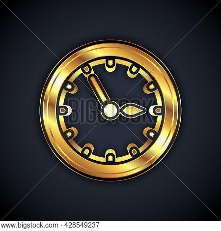 Gold Sauna Clock Icon Isolated On Black Background. Sauna Timer. Vector