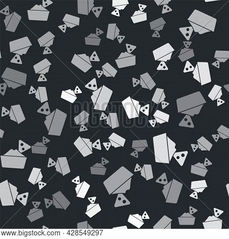 Grey Nachos In Bowl Icon Isolated Seamless Pattern On Black Background. Tortilla Chips Or Nachos Tor