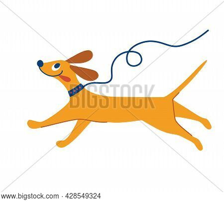 Cheerful Dog Is Running. Cute Dog On A Leash. Cartoon Pet. Best Friend. Flat Character Vector Illust