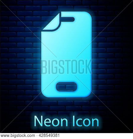 Glowing Neon Glass Screen Protector For Smartphone Icon Isolated On Brick Wall Background. Protectiv