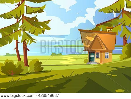 Brick House On Lake Shore. Summer Countryside Landscape With River, Small Cottage, Green Grass And P