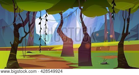 Jungle Landscape With Mountains And Sea On Horizon. Vector Cartoon Illustration Of Summer Rain Fores