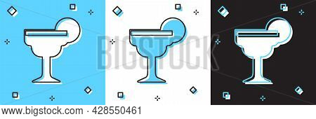 Set Margarita Cocktail Glass With Lime Icon Isolated On Blue And White, Black Background. Vector