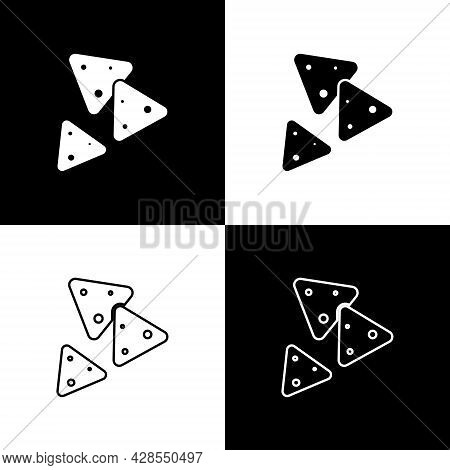 Set Nachos Icon Isolated On Black And White Background. Tortilla Chips Or Nachos Tortillas. Traditio