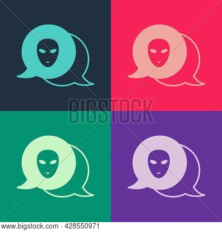 Pop Art Alien Icon Isolated On Color Background. Extraterrestrial Alien Face Or Head Symbol. Vector