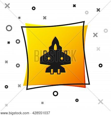Black Jet Fighter Icon Isolated On White Background. Military Aircraft. Yellow Square Button. Vector
