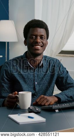 Zoom In Portrait Shot Of African American Black Man Freelancer Smiling To Camera, Handsome Young Man