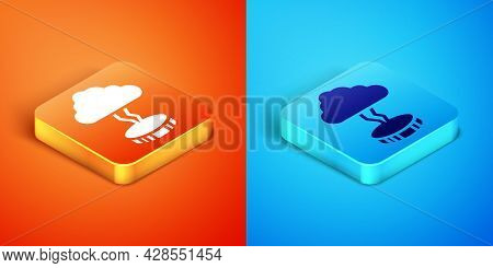 Isometric Storm Icon Isolated On Orange And Blue Background. Cloud And Lightning Sign. Weather Icon