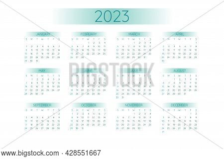 2023 Pocket Calendar Template In Strict Minimalistic Style With Teal Gradient Elements, Horizontal F