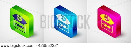 Isometric Hypnosis Icon Isolated On Grey Background. Human Eye With Spiral Hypnotic Iris. Square But