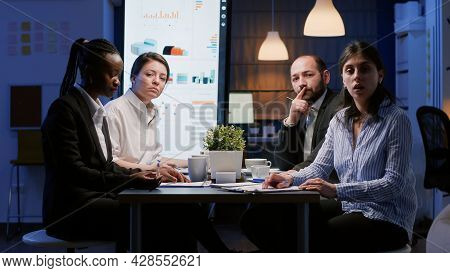 Pov Of Diverse Multi Ethnic Businesspeople Discussing Management Strategy During Online Videocall Co