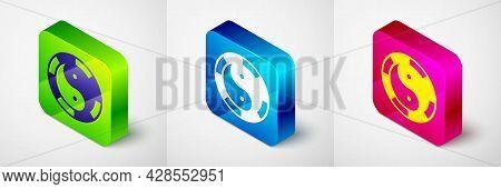 Isometric Yin Yang Symbol Of Harmony And Balance Icon Isolated On Grey Background. Square Button. Ve
