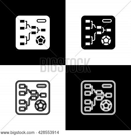 Set Results And Standing Tables Scoreboard Championship Tournament Bracket Icon Isolated On Black An