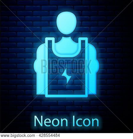 Glowing Neon Bodybuilder Showing His Muscles Icon Isolated On Brick Wall Background. Fit Fitness Str