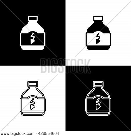 Set Sports Nutrition Bodybuilding Proteine Power Drink And Food Icon Isolated On Black And White Bac