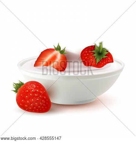 Yogurt Dairy Dessert Bowl With Strawberry Vector. Milky Yogurt Food With Natural Vitamin Bio Berry I