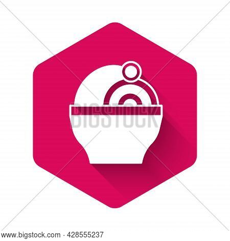 White Ramen Soup Bowl With Noodles Icon Isolated With Long Shadow Background. Bowl Of Traditional As