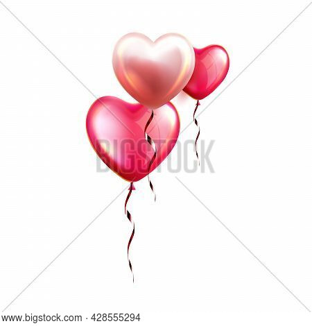 Air Balloons In Heart Form With Ribbon Vector. Fly Helium Inflated Balloons In Love Symbol Form, Bea