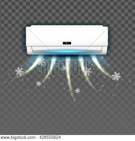 Air Condition System Blowing With Cold Vector. Block Of Condition System Cooling Temperature In Room