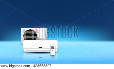 Air Condition Electrical System Copy Space Vector. Block Of Condition System And Remote Control For