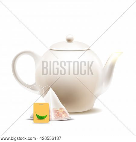 Teapot And Tea Bag For Prepare Hot Drink Vector. Brewing Delicious Beverage Blank Pot And Sachet Wit